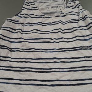 JCP navy and white striped tank top